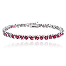 925 Silver Created 5.75ct Ruby S Design Tennis Bracelet