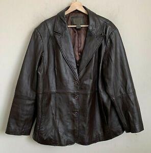 John Paul Richard Uniform Jacket Brown Lamb Leather Button Pockets Lined Size 1X