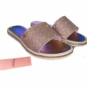 New Juicy Couture YUMMY Rose Gold Bling Gems Glitter Slides Sandals NWT Size 7