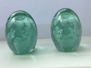 Matching Pair Of Victorian Green Glass Dumps Paperweight With Flowers In Pot