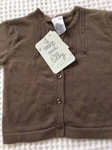 Max and Tilly Baby Cardigan Brown Cotton Size 000 0-3 Mths Long Sleeve RRP 24.95