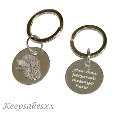Keyring Sterling Silver Irish Water Spaniel charm badge + Personalised engraving