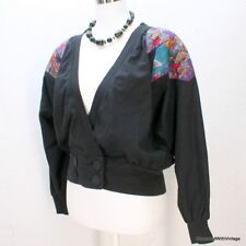 Vtg 80's black aztec geometric abstract indian blanket jacket coat top M/L