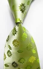 New Classic Floral Green JACQUARD WOVEN 100% Silk Men's Tie Necktie