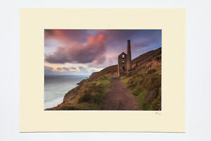 7x5, A4 or A3 photograph mounted or framed of sunset at Wheal Coates, Cornwall.
