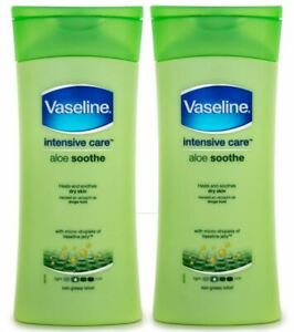 2 x Vaseline Intensive Care Aloe Soothe Lotion 200mL - NEW FREE SHIPPING