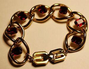 Vintage flawless goldtone red gem GIVENCHY signed clasp Bracelet Lot#485