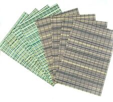 Bamboo Placemats Set 4 Green Stripe Brown Tan Natural 13 x 19 Inches Rectangle