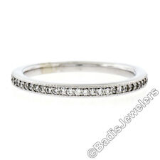 NEW 14K White Gold 0.18ctw 35 Round Pave Set Diamond 2.15mm Stackable Band Ring