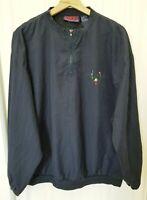 VTG Pivot Rules Mens Sz L Blue Golf Pullover 1/2 Zip Windbreaker Rain Jacket..fs