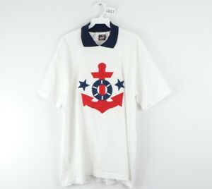Vintage 90s Streetwear Mens XL Nautical Anchor Stitched Polo Golf T Shirt White
