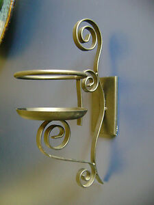 WALL MOUNTED CANDLE SCONCE TUSCAN BLACK SCROLL METAL LARGE PILLAR CANDLE