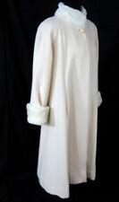 Casual Corner Long White Misses Coat 12 Wool Faux Fur Collar Cuffs Vintage 1980s