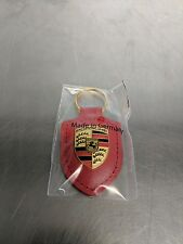 OEM Genuine Porsche Red Crest Leather Key Ring WAP0500920E