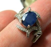 Beautiful STERLING SILVER Real Sapphire Gem Stone Art Deco Revival RING M 1/2