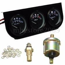 """2"""" 52mm Oil Pressure Volt Water Temp&AMP  3 Electronic Gauge Kits Fit 12V System"""