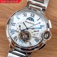 Mens Flywheel Stainless Luxury Bling Skeleton Automatic Mechanical Wrist Watch