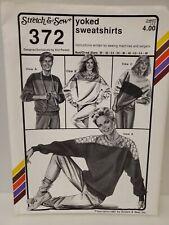 Vintage Stretch & Sew Sewing Pattern Yoked Sweatshirts, 372, 1987