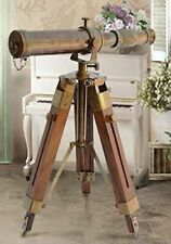 Vintage Antique Nautical Gift Decorative Solid Brass Telescope w/ Wooden Tripod