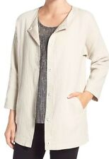 NWT $238 Eileen Fisher Stucco Linen/Cotton DoubleWeave Round Neck Jacket Size PP