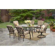 Patio Dining Set 7 Piece Outdoor Furniture Table 6 Beige Chairs Garden Yard Deck