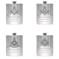 More details for masonic 6oz pewter hip flask 6oz uk made masons wedding birthday award gift