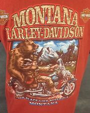 Harley Davidson Motorcycle T-shirt Missoula Montana Grizzly Bear Red Medium M
