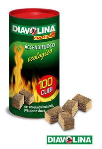 Accendi fuoco ecologico accenditori 100 cubi per stufe camini barbecue DIAVOLINA