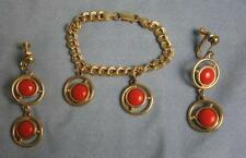 GILT STERLING LINK BRACELET W/ GP FAUX CORAL CHARMS & CLIP GP DANGLE EARRINGS
