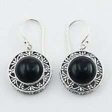 Silver earrings black agate ajoure steling silver hook drop 34mm dangle fashion