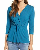 Loveappella Womens Knit Top Blue Size Medium M Surplice Front-Twist Wrap $46 176