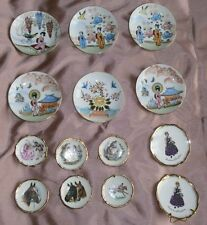 Collection 14 assiettes miniatures porcelaine - Limoges & Japon - Chevaux Geisha