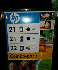 HP Genuine 21Black (TWO) and 22 Tri-Color (ONE) Ink - Combo PackExpired 2009