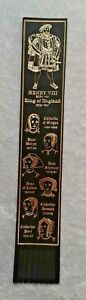 Black Leather Henry VIII & His Six Wives Bookmark - 1980s