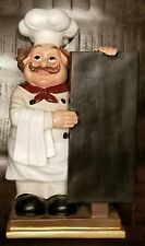 "Kitchen Decor....Fat Chef in White, Mustache w/ Chalkboard 15""H 8.5""W"