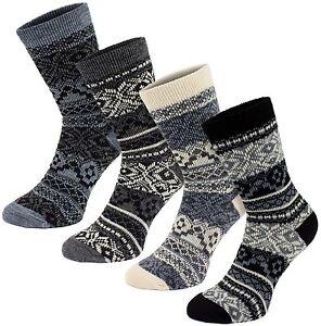 BRUBAKER Womens Nordic Fair Isle Norwegian Socks Black White Grey - 4 Pack