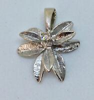 Vintage 10k(?) white gold pendant with diamond; floral/tropical motif; EUC
