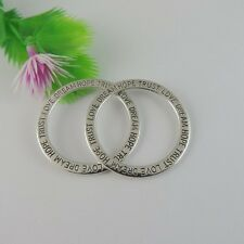 15PCS Antique Silver Tone Alloy Round Ring Charms Pendant Jewelry 35*35*2mm
