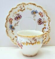 ANTIQUE LIMOGES LEWIS STRAUS & SON HAND PAINTED DEMITASSE CUP & SAUCER 1890's
