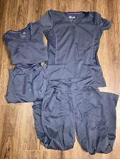 2 Pair Healing Hands Purple Label Grey Scrub Top Size Small Pants Set Size Xs