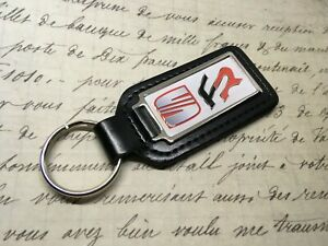SEAT FR Real Leather Keyring Printed resin coated