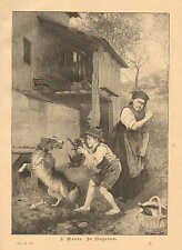 Child, Teasing Dog, Mother With A Switch, Boys Will Be Boys, 1895 German Print