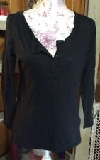 Ladies GEORGE Black, Long Sleeve, 3/4 Button Down, Shirt, Top, Size Medium