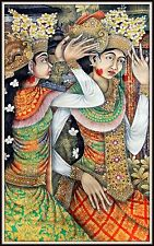 "Bali Painting""Balinese Dancers"" Amazing Detail ! 39"" high x 23.5"" wide"