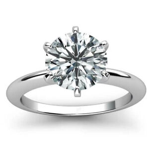 2.00 Ct Round Cut Moissanite Solitaire Engagement Ring In 14k White Gold Plated