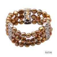 Beautiful Three-strand 8-9mm Natural Cultured Freshwater Pearl Elastic Bracelet