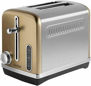 VonShef Automatik Toaster für 2 Scheiben 1150W – Champagnerfarben, Toast maker