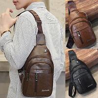Herren Brusttasche Bodybag Crossbag Leder Umhängetasche Sling Taschen Rucksack