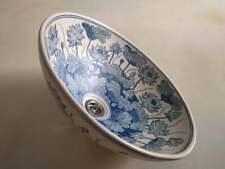 Wash basin hand painted porcelain blue water lotus blue lily blue floral basin