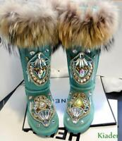 Women's Winter Thick Warm Snow Boots Real Leather Fox Fur Rhinestone Decor Shoes